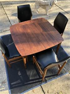 sold! Beautiful mid century modern walnut, dining table and four chairs-cherry-hill-nj