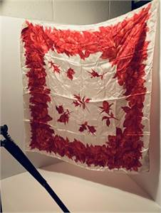 Red and White Scarf : just gorgeous hand rolled Japan-cherry-hill-nj shipping included