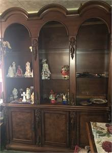 Solid Wood Large Arched Top Library Cabinet Triple Bookcase Shelving Storage Excellent Berlin-NJ