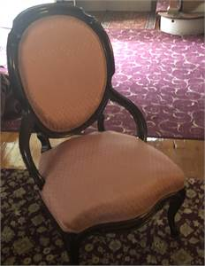 Beautiful Antique Victorian upholstered slipper chair, excellent solid shape.