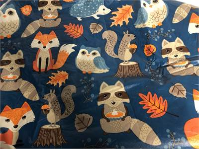 """Fall Tablecloth, cute woodland creatures Round Table 68"""" Cherry Hill, NJ local pickup, shipping avai"""
