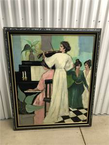 woman with violin art in excellent condition