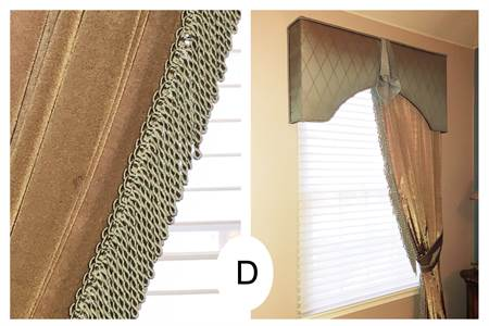 (D) These are Left  and Right Angled Draperies, Color is green. Cornice on top, Cherry Hill, NJ
