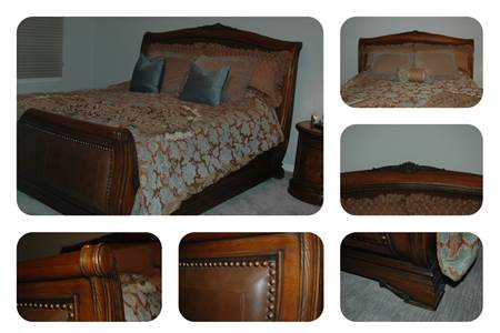 Awesome King Size Sleigh Bed with Leather and Nail Head Detail in Excellent Condition