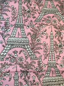 "Pretty Pink, French Motif Fabric. 13""x13"". Free Shipping"