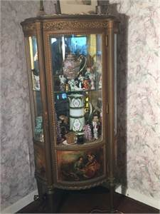 Beautiful Antique French Curio Cabinet with Key, French Closet, Vitrine