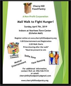 4/7/19:Cherry Hill Food Pantry Annual Fundraiser: Mall Walk to Fight Hunger-cherry-hill-nj