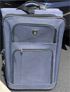 $10.00 Blue Rolling Suitcase wheels luggage pull up handle: normal wear, clean:Cherry-Hill-NJ pickup