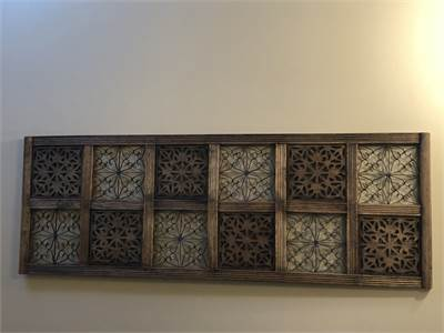 6' x 2' approx wood and metal art