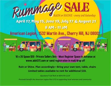 May 15, Rummage Sale at American Legion Post 372 of Cherry Hill, NJ