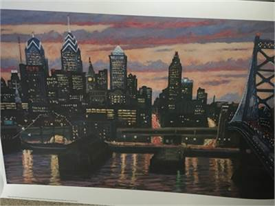Poster: Philadelphia Poster with PSFS Building and Ben Franklin Bridge 19x35