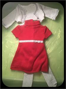 American Girl Clothing fits American Girl Doll or Generation Doll.Christmas Dress, stockings, jacket