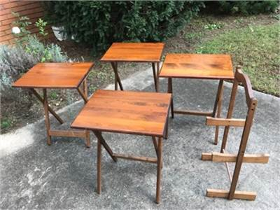 4 solid wood TV trays, folding (with stand)