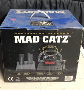 Mad Catz Steering Wheel and Foot Pedal N64 Complete In Original Box Nintendo 64