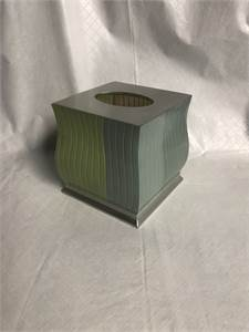 facial tissue box cover  holder light green and blue colors 6 inches and shipping available