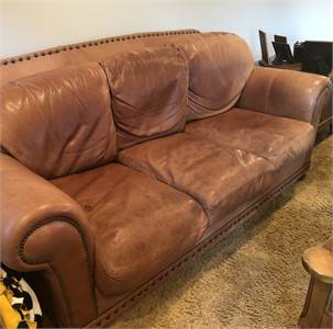 Leather Sofa: very soft and cozy with nail head detail. Cherry Hill NJ pickup