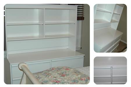 child or teenager white dresser with hutch