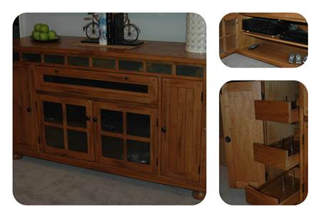 Entertainment TV Console Stand Brown Wood with Glass Panels. Great for Stereo Media Storage