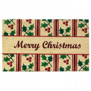 temp out of stock: Christmas Holly Welcome Mat