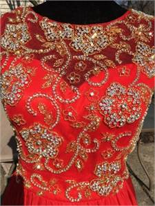Gorgeous Red Gold Chiffon Gown size 10 / 12 Shail K 3925 Red/Gold Chiffon Dress Cherry Hill NJ
