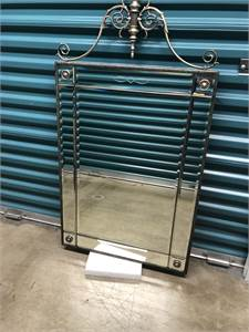 Decorative Beveled Silver Color Entranceway or Foyer Mirror with Shelf. Good Quality.