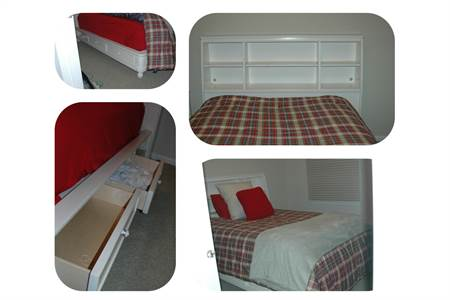 Beautiful Platform Queen Sized Bed, underbed storage 4 drawers and bookshelf headboard