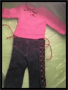 Cute Pink Doll Shirt and Jeans fits American Girl Doll or Generation Doll with Free Shipping