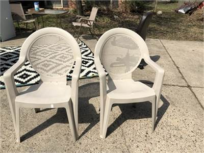 King Size! 2 clean and super nice outside chairs, beige color, Cherry Hill, NJ 08034.