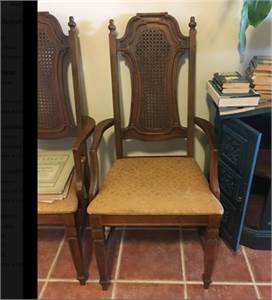 2 Vintage, Gold fabric chairs with caned backing, Cherry Hill, NJ