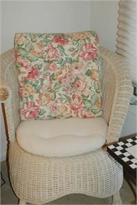 Pier 1 White Wicker Chair and Ottoman, with Seat Cushions, Cherry Hill, NJ