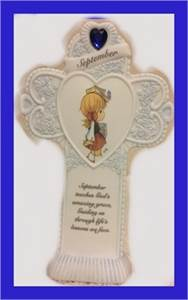 Precious Moments: Monthly Standing Cross for September: 154474.   Cherry Hill, NJ