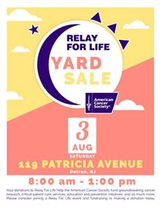 American Cancer Society - Relay For Life Yard Sale Fundraiser!