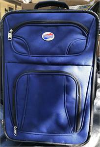 American Tourister Small Luggage, blue, rolling, wheels, extended handle, cherry hill nj pickup