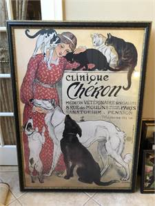 37.5 x 47.5 Clinique Cheron Veterinary Medicine and Hotel' by Theophile Alexandre Steinlen Vintage A