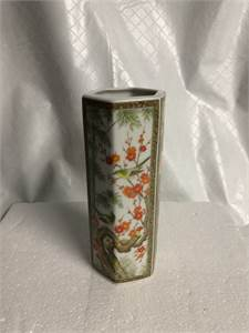 Asian Hexagon Flower Vase 6 inches