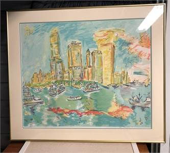 Wayne Ensrud, View of Manhattan, Modern Art, Vibrant Colors 28 x 32 Local Pickup Cherry Hill, NJ