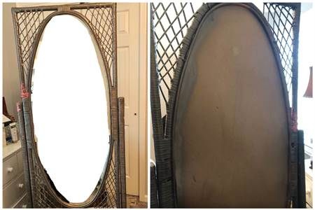 Free Standing mirror, wicker mirror, cherry hill nj pickup