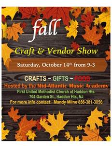 10/14: Rain or Shine Event. Fall Craft and Vendor Show in Haddon Heights