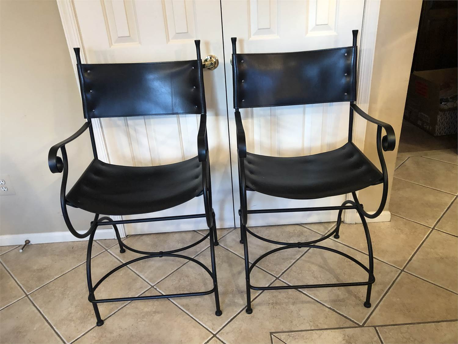 Beautiful barstools, black leather, with scroll arms and legs, just lovely, Cherry Hill NJ pickup